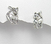 sterling silver cat earrings style A7062332