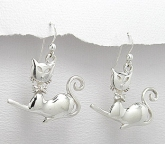 sterling silver cat earrings style A7062515