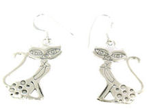sterling silver cat earrings style A7063842