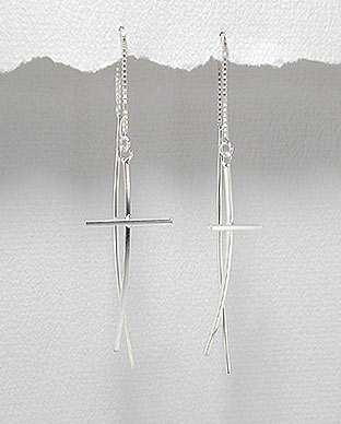 Sterling Silver Cross Earrings Style A706785