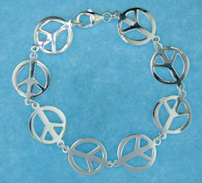 Sterling Silver Peace Sign Bracelet