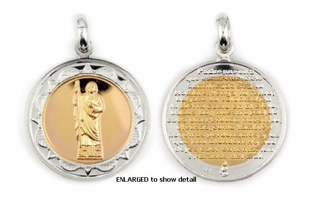 Catholic jewelry 2 tone st jude thaddaeus medallion padre nuestro enlarged view of abc1032 pendant mozeypictures Gallery