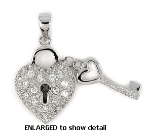 Heart lock key jewelry sterling silver cz heart lock key necklaces abz125 cz heart key pendant aloadofball Image collections