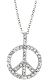 sterling silver Cubic Zirconia peace sign necklace ACZ305