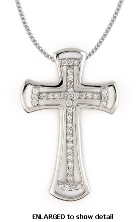 Sterling silver cz necklaces cubic zirconia cross necklace pcz600 acz600 cz necklace cubic zirconia cross necklace 16 sterling silver aloadofball Image collections