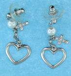 sterling silver cross earrings AECZ421