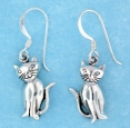 sterling silver cat earrings style AESE0588