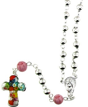 sterling silver millefiori cross rosary necklace