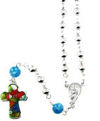 sterling silver millefiori rosary AMP1261