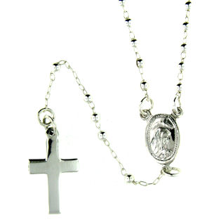 sterling silver cross rosary necklace AN057