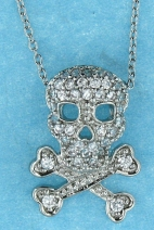 sterling silver skull Cubic Zirconia necklace ANP20591