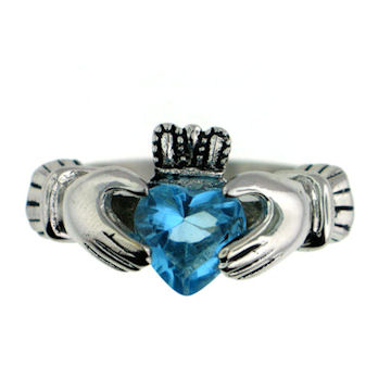 CLR1003-December stainless steel claddagh ring