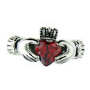 Stainless steel birthstone claddagh ring