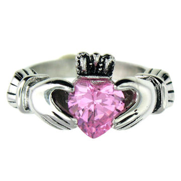 ring rings silver p october birthstone ls claddagh ladies htm