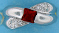 sterling silver Cubic Zirconia ring CZ0008 Red