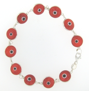 Evil Eye Bracelet EEB008 Orange Red