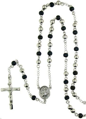 stainless steel cross rosary necklace NKJ0066