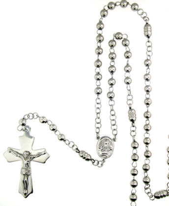 stainless steel cross rosary necklace NKJ0067