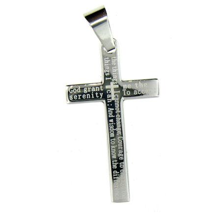 Stainless steel serenity prayer cross pendant necklace stainless stainless steel serenity prayer cross pendant mozeypictures Images