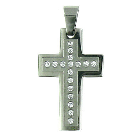 PDJ91018 stainless steel cross pendant ENLARGED