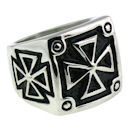 Stainless Steel iron maltese cross ring SCR1004