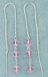 sterling silver threader earring T012 Pink