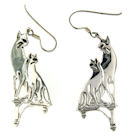 sterling silver cat earrings style WCE0488