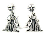 sterling silver cat earrings style WCE0719
