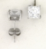 WGSS055 Princess cut 5mm white gold cz studs