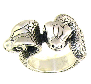 Double Head Snake Ring Sterling Silver Two Headed Snake