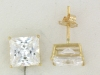 YGSS066 Princess cut 6mm 14k yellow gold cz studs